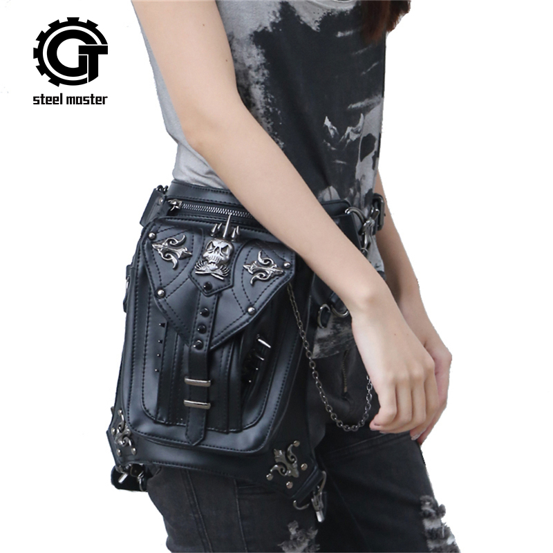 Fashion Steampunk Skull Gothic Waist Leg bag Retro Pu Leather Rivet Messenger Bag Personalized Phone Purse Men&Women Waist Bag gothic skull cross rivet cow leather double fold wallet brown