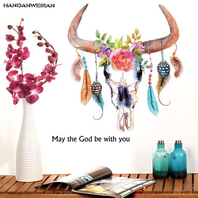 Us 385 16 Offhandgemalte Ox Horn Feder Aufkleber Mode Kreative Schlafzimmer Ecke Wandaufkleber Entfernen Vinyl Home Decoration Aufkleber In
