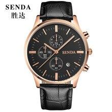 Relojes hombre Men Luxury Top Brand SENDA Quartz Watch Male Wristwatch hronograph Date Luminous Sport Leather watch