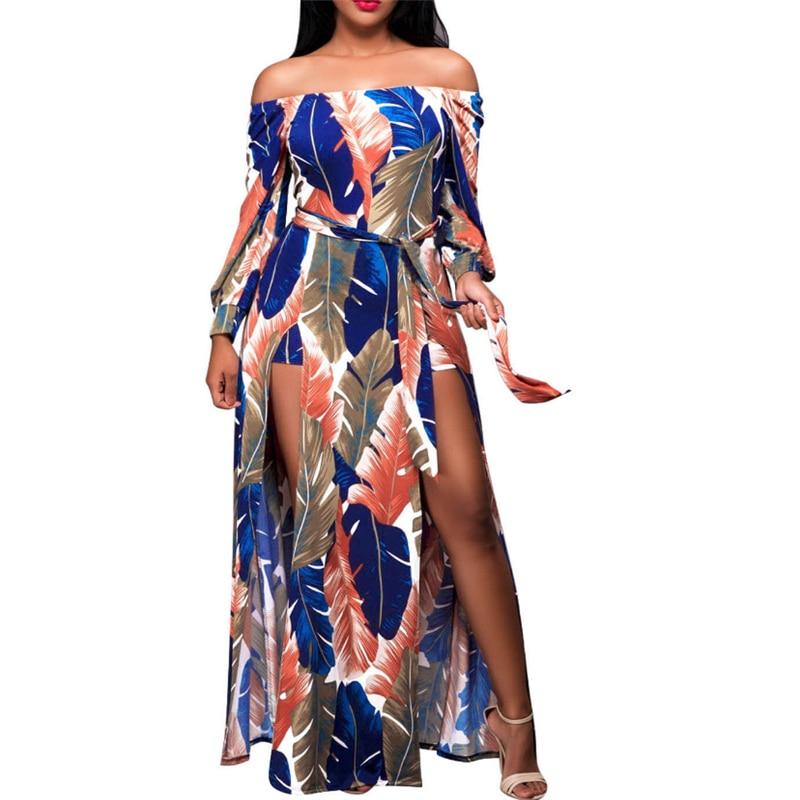 2017 Women Dresses Sexy Slash Neck Summer Off The Shoulder Regular Long Maxi Dress Evening Party Beach Dress Sundress