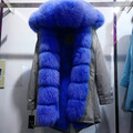 Wholesale Winter Luxury Fur long Jacket with Genuine Fox Fur Trim Hood and Cuff Jacket for Elegant Women