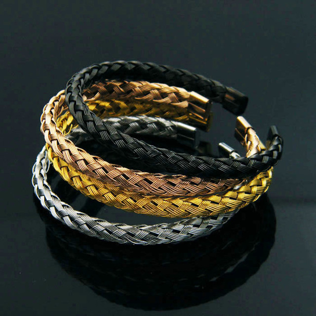 Luxury 316l Stainless Steel Twisted Chain Cable Wire Bracelets Men Gold Color Open Cuff Bracelets Bangles Men Jewelry