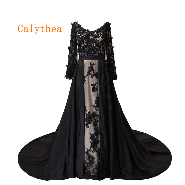 28deedb82fcc Free Shipping Sexy Long Black Lace Evening Dresses 2019 Robe De Soire Plus  Size Evening Gown