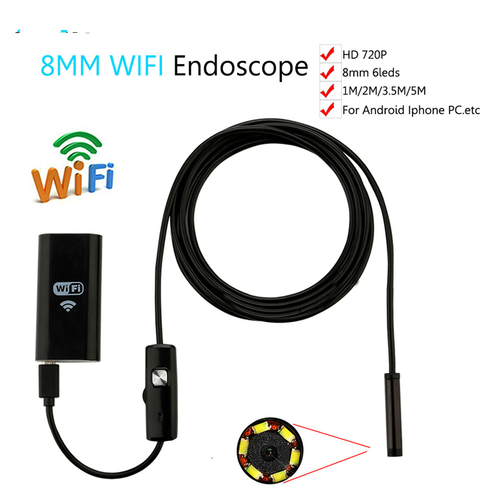 LWSTFOCUS  8mm Len 1M/2M/3M/5M Cable Waterproof Camera For iPhone and Android Endoscope WIFI Endoscope Inspection Camera HD 720pLWSTFOCUS  8mm Len 1M/2M/3M/5M Cable Waterproof Camera For iPhone and Android Endoscope WIFI Endoscope Inspection Camera HD 720p