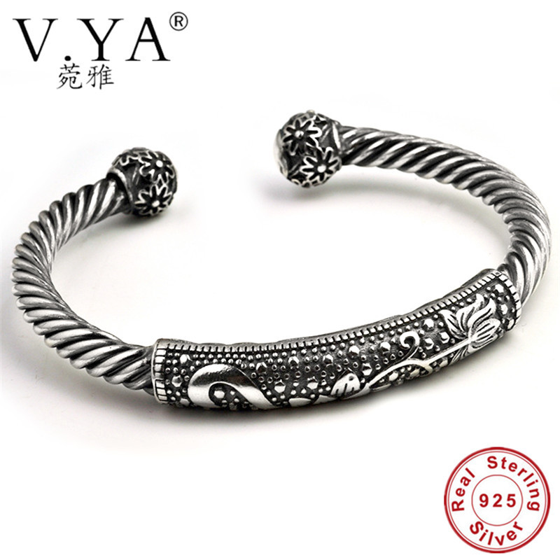 V.YA Genuine 925 Sterling Silver Twist Shape Bangles & Bracelets Punk Style Open Size Cuff Bangle For Men Women Fine Jewelry trendy christmas style elk shape cuff ring for women
