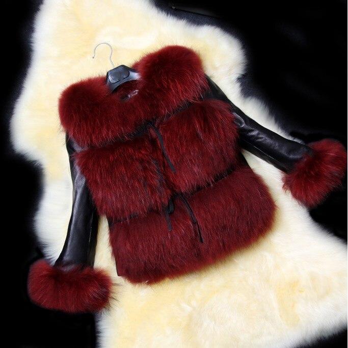 2018 Autumn Winter Short Fur Jacket V-Neck Coat Leisure Pu   Leather   Stitched Faux Fur Coat Ladies Temperament Overcoat