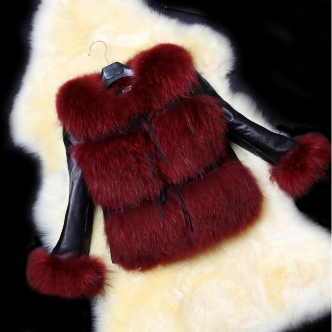 2018 Herfst Winter Korte Fur Jacket V-hals Jas Leisure Pu Leer Gestikt Faux Bontjas Dames Temperament Overjas Vraag Die Groter Is Dan Het Aanbod