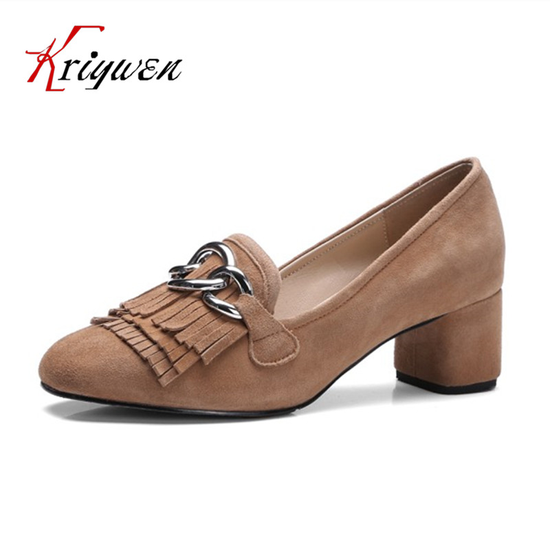 ФОТО 2017 Spring chunky med  heels chains pumps mature retro office career sexy lady pumps for female slip on suede party shoes