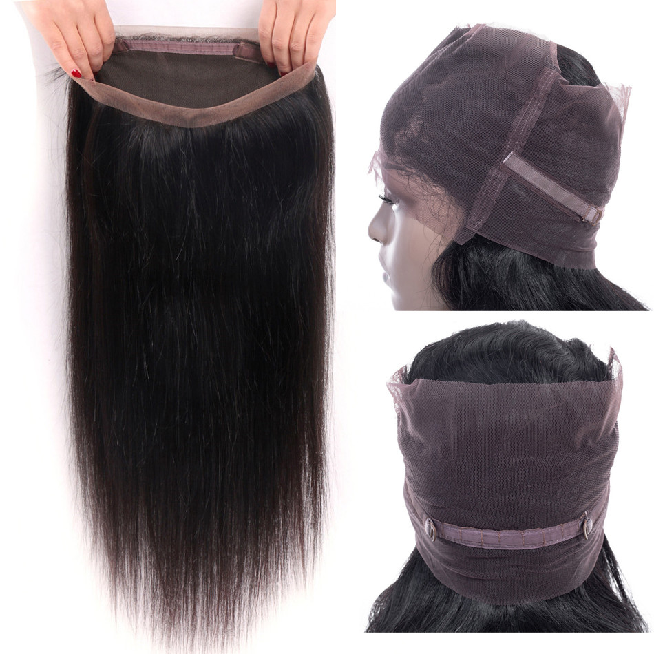 Closure Brazilian Straight-Hair Lace-Frontal Pre-Plucked 100%Human-Hair-Extension Remy