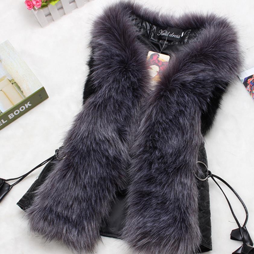 new fashion Quilted plaid faux fur vest plus size waistcoat pu   leather   vest