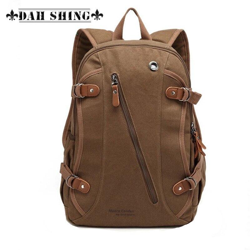 남성용 브라운 캐주얼 스타일 캔버스 가방 가방 - 백팩