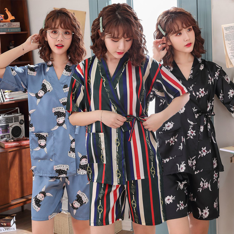 Silk Satin Shorts Kimono   Pajama     Sets   for Women 2019 Summer Short Sleeve Pyjama Sleepwear Homewear Pijama Mujer Clothes Home Suit