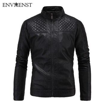 Envmenst 2017 Slim Leather Jacket Men Stand Collar Zipper Jacket Short Design Inside Cashmere Male Leather Jacket