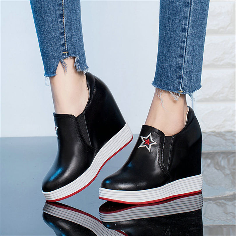NAYIDUYUN      Women Shoes Genuine Leather High Heel Motorcycle Boots Embroider Wedges Platform Party Pumps Punk Goth SneakersNAYIDUYUN      Women Shoes Genuine Leather High Heel Motorcycle Boots Embroider Wedges Platform Party Pumps Punk Goth Sneakers