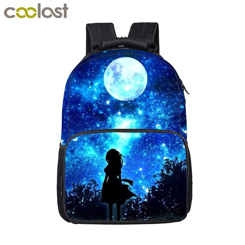 nuevo estilo b65b0 e5d35 € 20.38 40% de DESCUENTO|Mochila De galaxia de fantasía para niñas mochilas  escolares nunca te dejare ir mochilas para ordenador portátil mochila ...