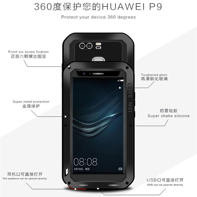 imágenes para Caso AMOR MEI Metal para Huawei P9 Más Vida A Prueba de agua a prueba de golpes Volver Casos de la Cubierta Para Huawei P9 P9 más Templado vidrio