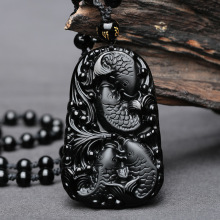 Wonderful Chinese Handwork Natural Black Obsidian Carved Fish Happy Reunion Lucky Blessing pendant necklace Fashion JewelrY