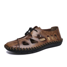 Summer Breathable Beach Shoes Men Big Size Mens Sandals British Rome Genuine Leather Casual Massage Non-Slip Slippers Flats