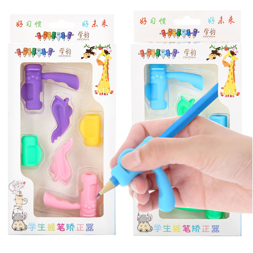 New Qualified Dropship 6PCS/Set Children Pencil Holder Pen Writing Aid Grip Posture Correction Tool Se27