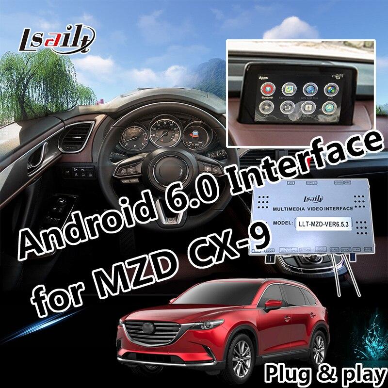 Plug & Play Android 6.0 GPS Navigation pour Mazda CX-9 avec Mirrorlink 3D Carte En Direct USB Contrôle Du Volant Applications