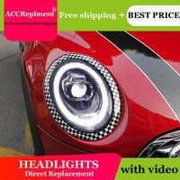 Car Styling for BMW mini Headlights 2014 2018 BMW mini LED Headlight DRL Lens Double Beam H7 HID Xenon bi xenon lens
