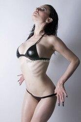 Women Black Sexy latex lingerie rubber Bikinis Set,100% Natural Latex underwear Customize service