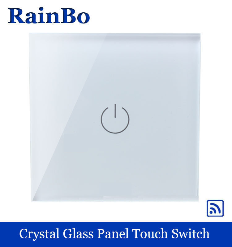 Touch Smart home Switch Screen white  Crystal Glass Panel Switch EU Wall Switch AC250V Wall Light Switch 1 gang 1 way rainbo 2017 smart home wall switch white crystal glass panel light touch switch 1 gang 1 way ac 110 250v 1000w for light
