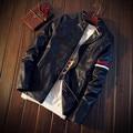 Новое Прибытие 2017 Осень и Весна Мода Мужская PU Кожаная Куртка cool куртка двигателя Внутри Твердого Теплая Куртка Ветровка