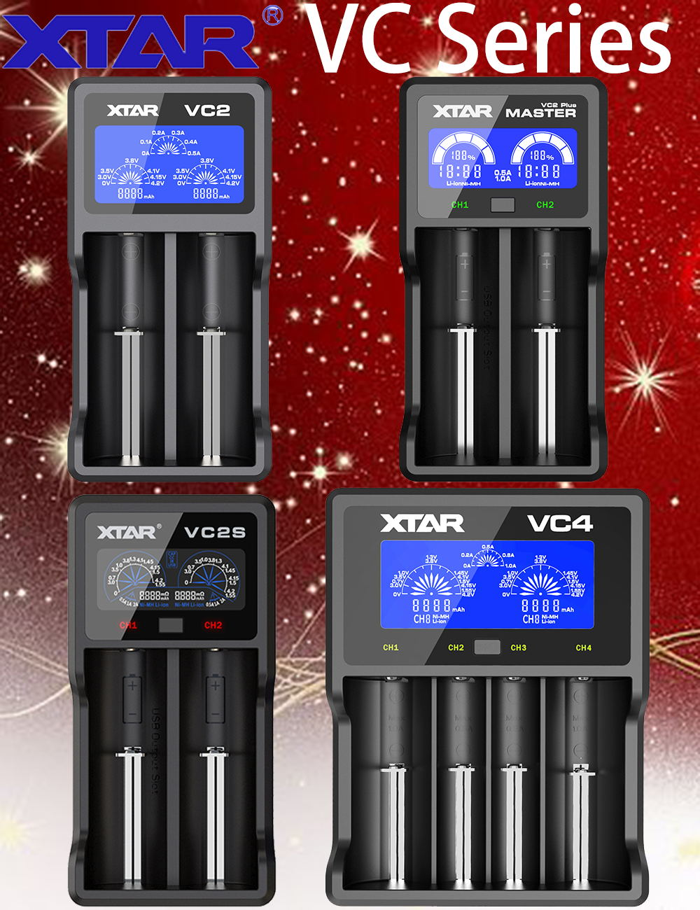 XTAR VC2 VC2 plus VC4 VC2S VC2 2019 battery charger for 10440/16340/14500/14650/18350/18500/18650/18700/26650/ 22650