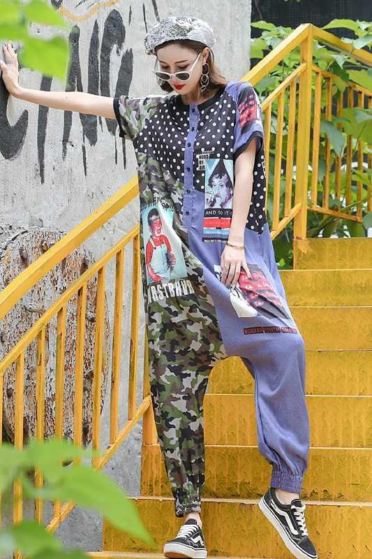 Robe femme ete 2018 tide, новинка, Женский Летний Тонкий камуфляжный комбинезон с волнистыми точками, штаны для хип-хопа