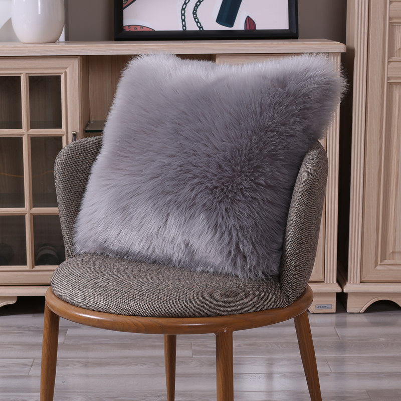 Faux Sheepskin Square Cushion Cover Washable Warm Hairy Seat Pad Fluffy Rugs Carpet Fur Mats For Floor Chairs Sofas Cushions