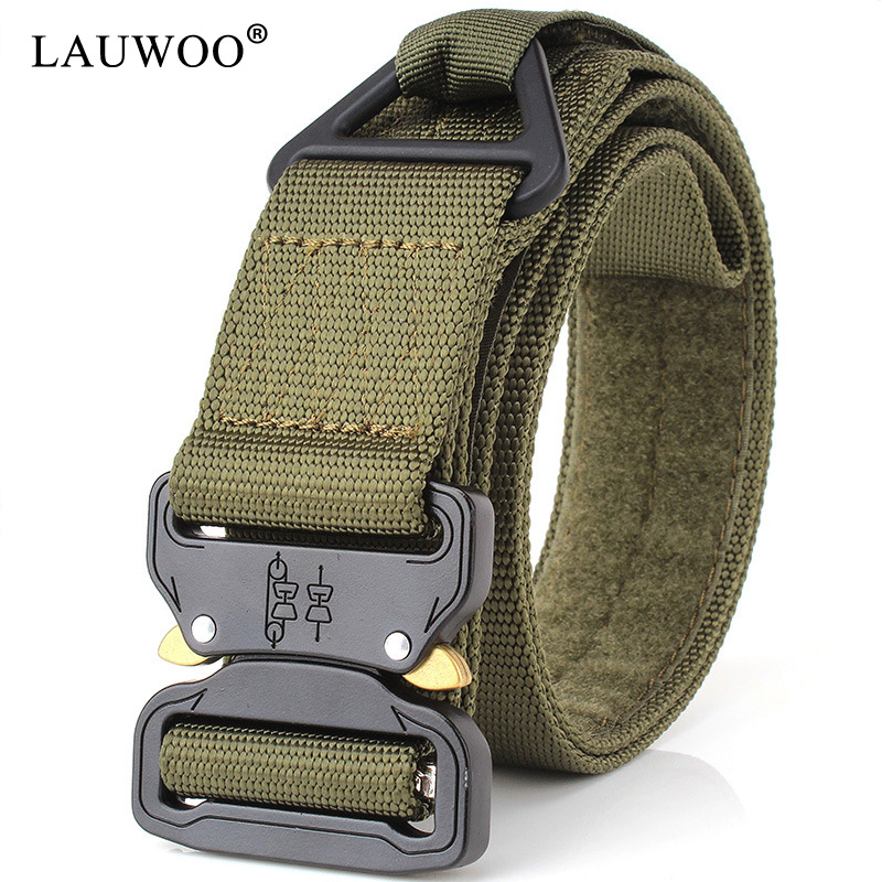 LAUWOO Combat Heavy Duty Knock Off Tactical Belt Men US Soldier Military Equipment Army Belts Sturdy Hook Nylon Waistband 4.5cm
