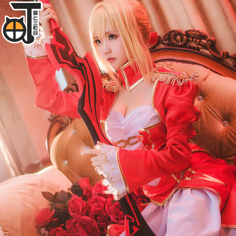 Saber Cosplay Arturia Pendragon Costume Anime Fate Stay Night Saber Cosplay UBW Fate Zero Nero Red Dress Women