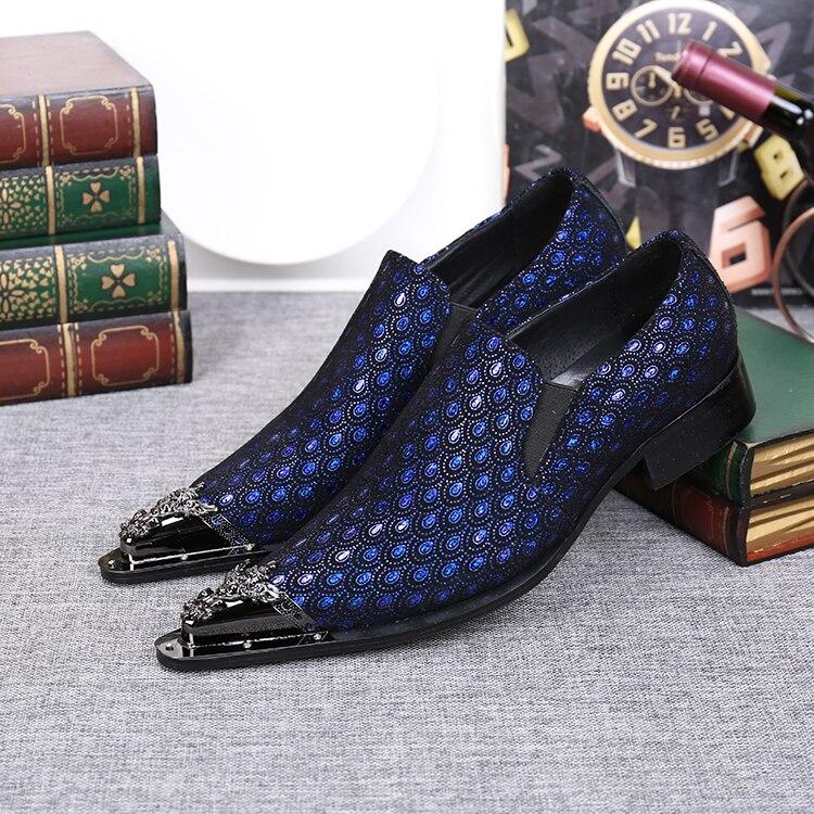 Dos Mocassins Formal Para Couro Mens Genuíno Prata Oxford Luxo Casuais Homens b Sapatos A De Azul qgwnXTf