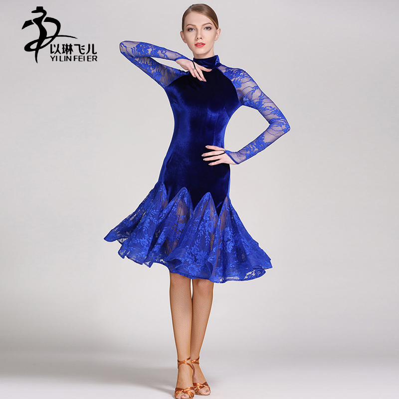 Adult Latin dance dress velvet+ lace latin salsa dress Performance/ Competition Costume tango dance dress for women