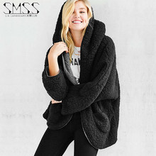 Newest  Womens Lambs Wool Coat Both Sides Wear Spring Fur Jacket Loose Bat Sleeves Casual Hooded Coats Solid Color Xs/2Xl J635