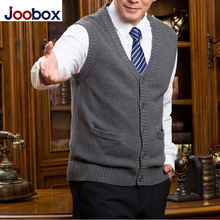 JOOBOX Brand 2017 New Arrival Autumn Winter cardigan Knitted Sweater vest Men Sleeveless Standard Wool Grey Black male pullovers