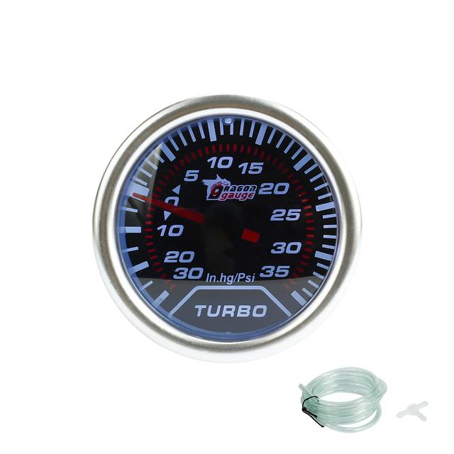 """Frete grátis calibre do Impulso 2 """"(52mm) lente fumaça calibre Turbo boost calibre 30 ~ 35 Psi/Calibre Auto/Tacômetro Metro/Carro/Corrida medidor"""