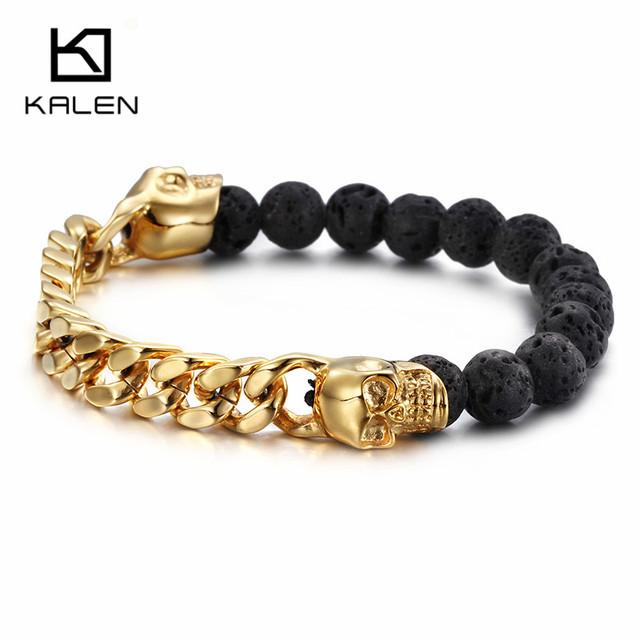 Kalen new punk ouro rosa dubai banhado a ouro elo da cadeia gótico do crânio cabeça pulseiras lava contas pulseiras acessório legal dos homens presente