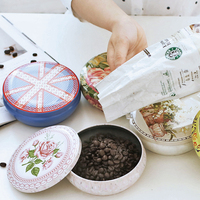 Vintage Chinese Style Tea Caddy Tin Creative European Iron Coffee Beans Cans Fashionable Delicate Tea Cans