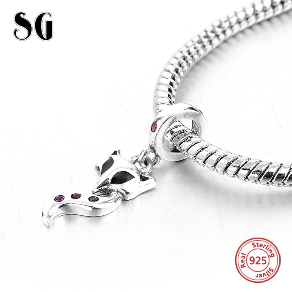 925 Sterling Silver Fox With Purple Cubic Zirconia Pendant Fit Authentic Pandora Charms Bracelet Beads For Women Fashion Jewelry