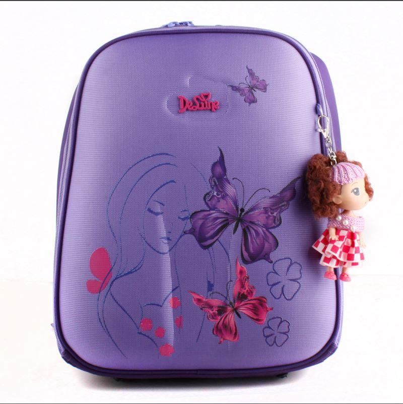 Аутентичные delune начальной школы сумки для девочек рюкзаки индивидуальный дизайн дети ранцы mochila эсколар с куклы украшения