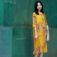 Summer New Arrivals Women Casual Loose Plus Size Vintage Elegant Print Yellow Comforable Breathable Thin Ramie Pullover Dresses
