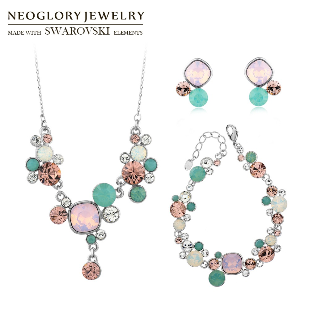 Neoglory MADE WITH SWAROVSKI ELEMENTS Crystal & Rhinestone Jewelry Set Colorful Trendy Style Necklace & Earrings & Bracelet Gift rhinestone embellished metal bracelet set