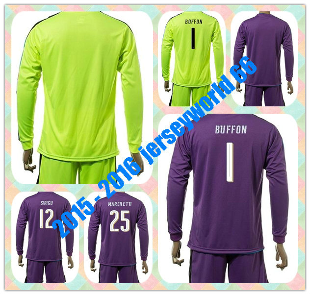 Top uniformes rápido Kit BUFFON SIRIGU MARCHETTI fluorescente verde goleiro  camisa de futebol de manga comprida 350b7aff7bcc8