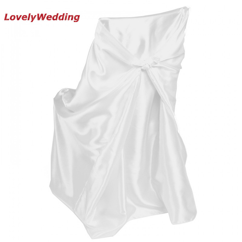 White Universal Chair Covers Curved Dining Chairs Uk High Quality Satin Cover For Home Banquet Wedding Decoration Self Tie Covering The