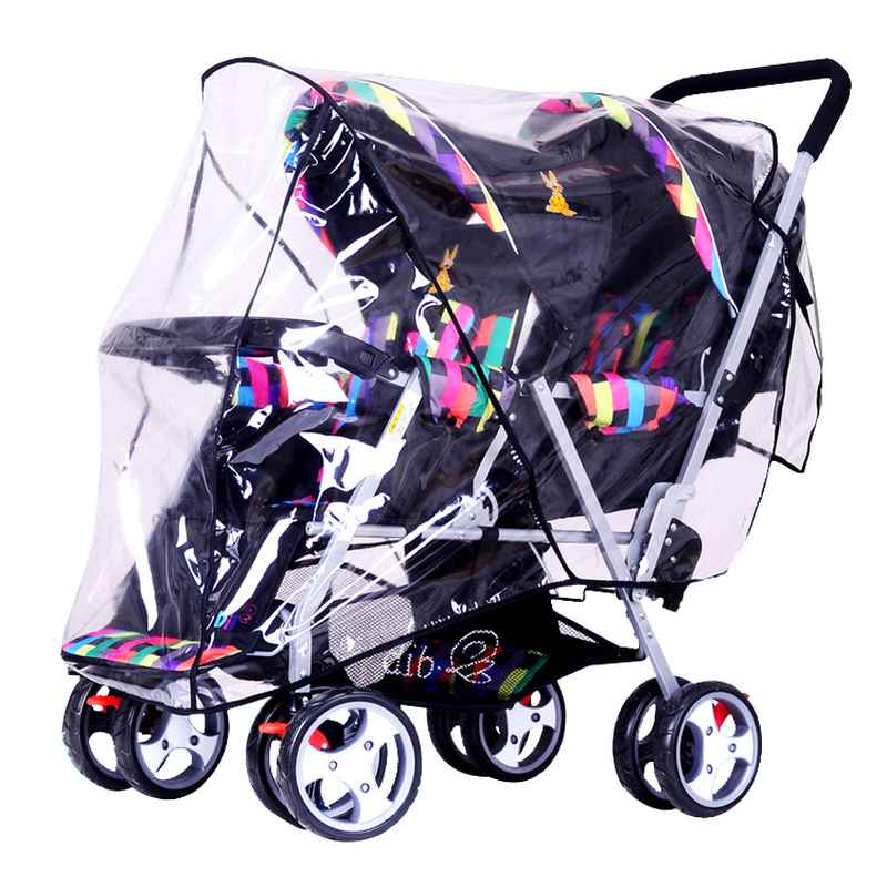 Universal Baby Double Stroller Rain Cover Wind Shield Front and Rear Twin Stroller Rain Cover Baby Pram Raincoat for Twins 0~36M stroller rain cover waterproof cover universal twins baby stroller rain cover windproof baby carriage stroller accessories