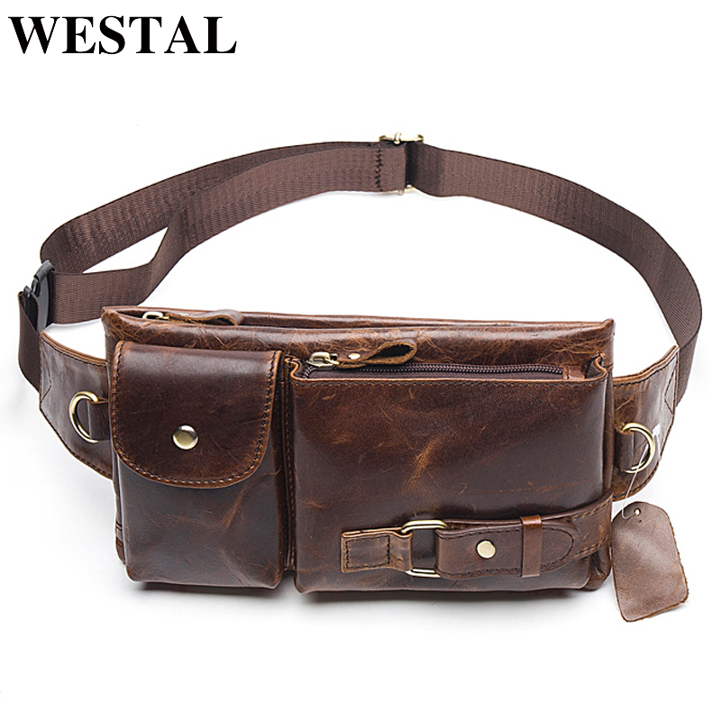 WESTAL Men's Genuine Leather Waist Bags Travel Fanny Pack Leather Belt Waist Bag Phone Hip Pouch Chest Messenger For Man 9080