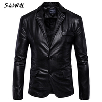 SUKIWML 2017 New Brand Mens Fashion Leather Blazers Men Slim Fit Solid Color Men Blazer Jacket Terno Masculino Plus Size M 5XL