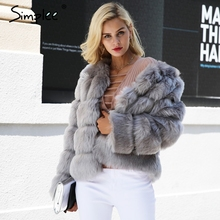 font b Simplee b font Vintage fluffy faux fur coat women Short furry fake